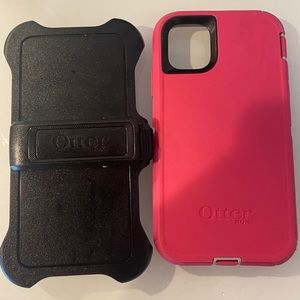iPhone 11 Otterbox Defender case - pink and black